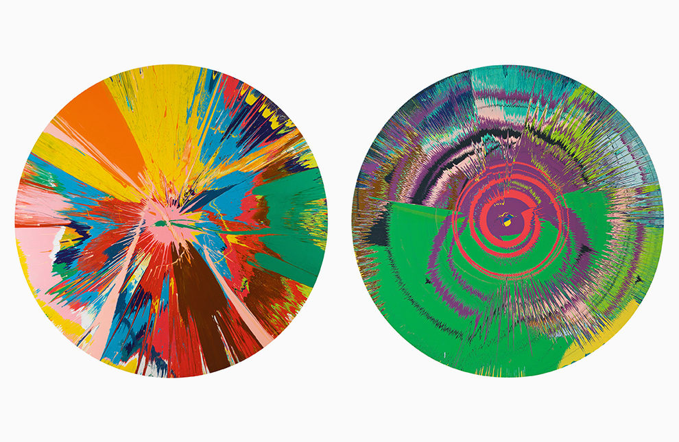 Damien Hirst, Beautiful, Shattering, Slashing, Violent, Pinky, Hacking, Sphincter Painting, 1995; Damien Hirst with David Bowie, Beautiful, Hallo, Space-boy painting, 1995